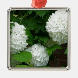 Allium White Round Flowers Square Metal Christmas Ornament