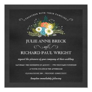 "Alll Seasons Floral Chalkboard Wedding Invitations 5.25"" Square Invitation Card"
