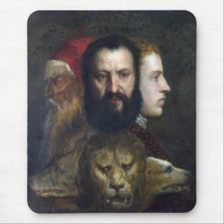 Alllegory of Prudence - Titian Tiziano Mouse Pad