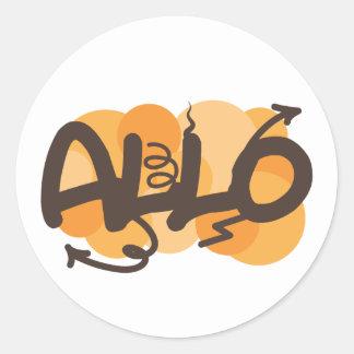 Allo French Hello Round Sticker