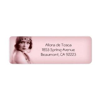 Allora en luz se ruboriza rosa - etiquetas de etiqueta de remite