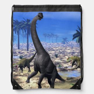 Allosaurus attacking brachiosaurus dinosaur - 3D r Drawstring Bag