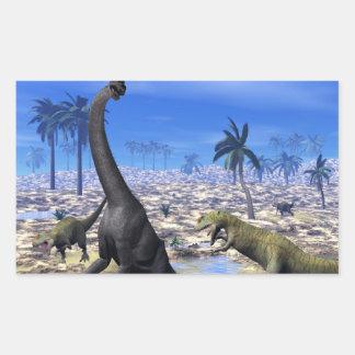 Allosaurus attacking brachiosaurus dinosaur - 3D r Rectangular Sticker