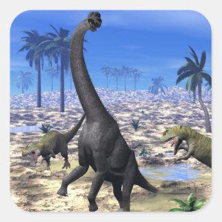 Allosaurus attacking brachiosaurus dinosaur - 3D r Square Sticker
