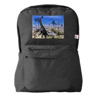 Allosaurus attacking brachiosaurus dinosaur american apparel™ backpack