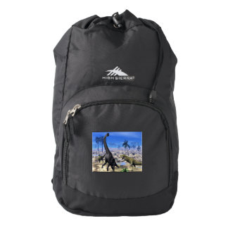 Allosaurus attacking brachiosaurus dinosaur backpack