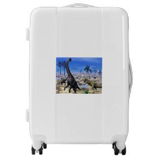 Allosaurus attacking brachiosaurus dinosaur luggage