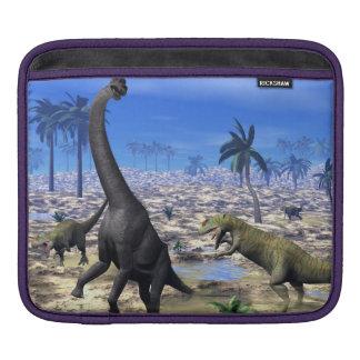 Allosaurus attacking brachiosaurus dinosaur sleeve for iPads