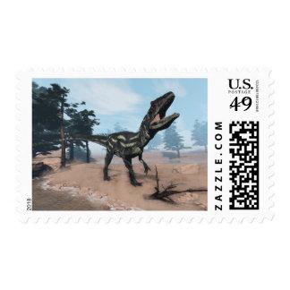 Allosaurus dinosaur roaring - 3D render Postage