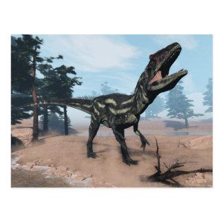 Allosaurus dinosaur roaring - 3D render Postcard
