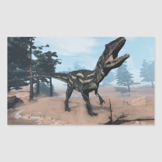 Allosaurus dinosaur roaring - 3D render Rectangular Sticker