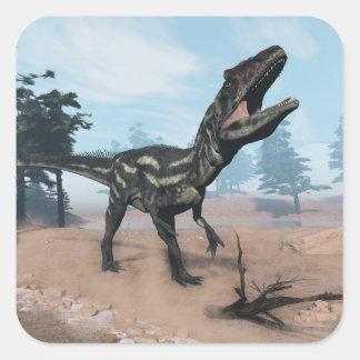Allosaurus dinosaur roaring - 3D render Square Sticker