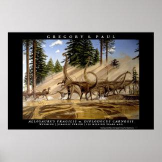Allosaurus Greg Paul del Diplodocus del poster del