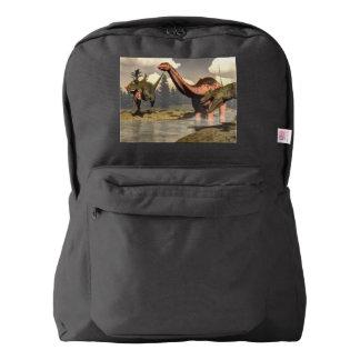 Allosaurus hunting big brontosaurus dinosaur american apparel™ backpack
