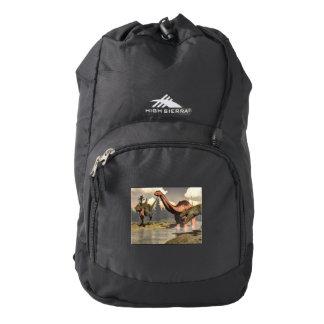 Allosaurus hunting big brontosaurus dinosaur high sierra backpack