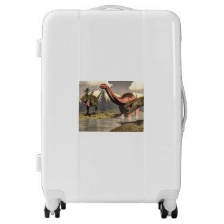Allosaurus hunting big brontosaurus dinosaur luggage