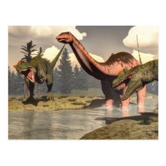 Allosaurus hunting big brontosaurus dinosaur postcard