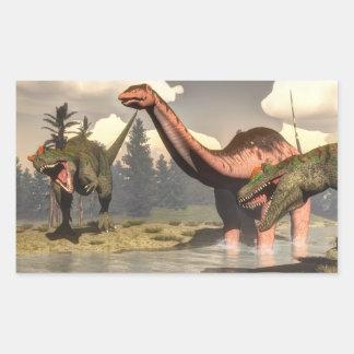 Allosaurus hunting big brontosaurus dinosaur rectangular sticker