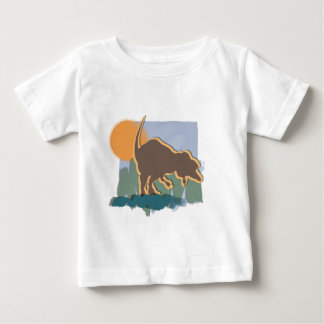 Allosaurus in Brown and Orange in Sun and Grass Baby T-Shirt