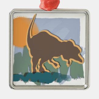 Allosaurus in Brown and Orange in Sun and Grass Metal Ornament