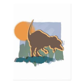 Allosaurus in Brown and Orange in Sun and Grass Postcard