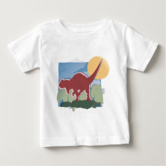 Allosaurus in Deep Red in the Sun and Grass Baby T-Shirt