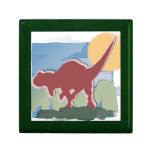 Allosaurus in Deep Red in the Sun and Grass Jewelry Boxes