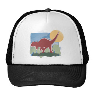 Allosaurus in Deep Red in the Sun and Grass Trucker Hats