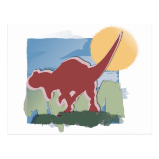 Allosaurus in Deep Red in the Sun and Grass Postcard