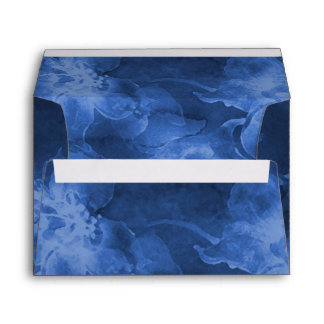 Allover Navy Blue Watercolor Flowers Envelope