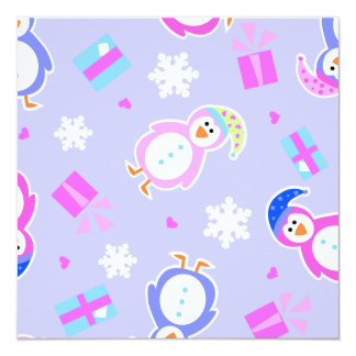 allover penguins with presents 5.25x5.25 square paper invitation card