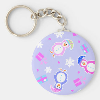 allover penguins with presents basic round button keychain