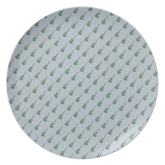 Allover small guitar print blue green melamine plate