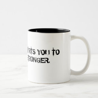ALLOW WHAT HURTS YOU TO MAKE YOU STRONGER. Two-Tone COFFEE MUG
