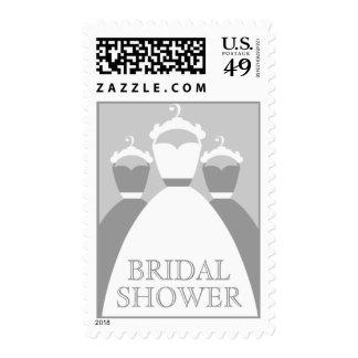 Alloy Gray Wedding Dress Bridal Shower Invitation Postage
