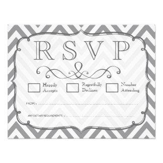 Alloy Gray & White Chevron Wedding RSVP Cards