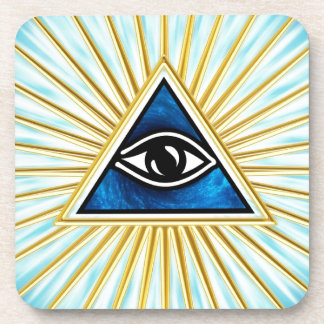 Allsehendes eye of God, pyramid, freemason Beverage Coaster