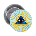 Allsehendes eye of God, pyramid, freemason Pinback Button