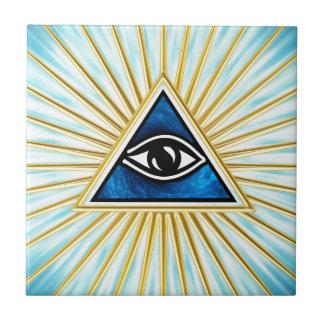 Allsehendes eye of God, pyramid, freemason Tile