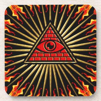 Allsehendes eye of God, pyramid, planning Beverage Coaster