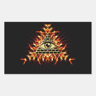 Allsehendes eye of God, pyramid, planning Rectangular Stickers