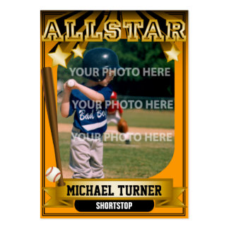 ALLSTAR Orange Custom Baseball Card Large Business Card
