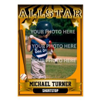 ALLSTAR Orange Custom Baseball Card Large Business Cards (Pack Of 100)