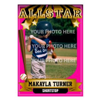 ALLSTAR Pink Custom Baseball Card Large Business Cards (Pack Of 100)