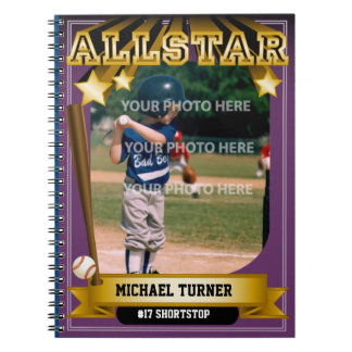ALLSTAR Purple Baseball Card Spiral Note Book