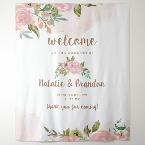 Alluring Rose Vintage Dusty Pink Wedding Welcome Tapestry
