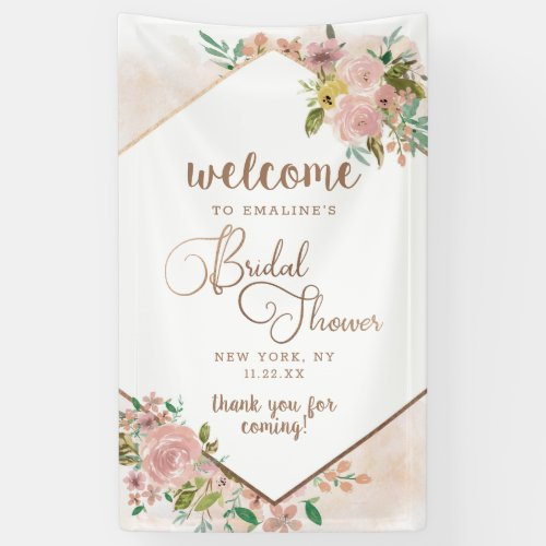 Alluring Rose Vintage Floral Bridal Shower Welcome Banner