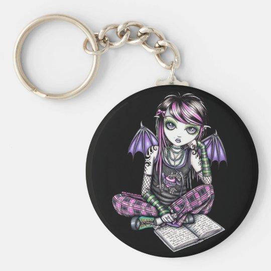 """""""Ally"""" Emo School Girl Fairy Art Keychain"""