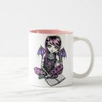 emo, school, girl, reading, books, fairy, faery, fae, faerie, faireis, fantasy, art, myka, jelina, ally, characters, Mug with custom graphic design