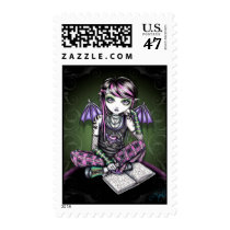 emo, school, girl, reading, books, fairy, faery, fae, faerie, faireis, fantasy, art, myka, jelina, ally, characters, Stamp with custom graphic design